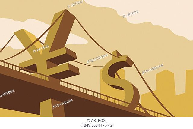 Bridge with suspension cables held up by yen and dollar signs