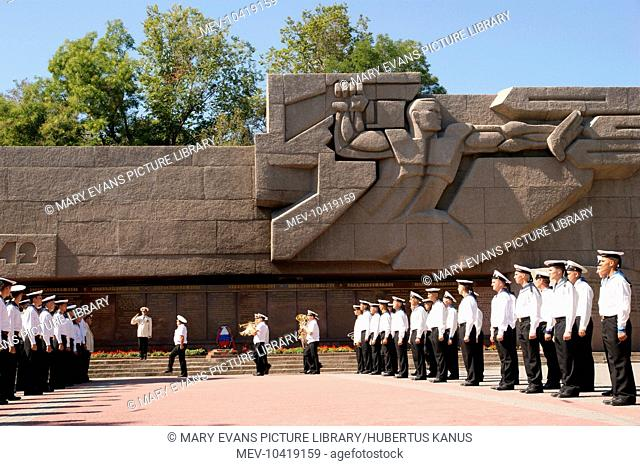 View of the Soviet Memorial to the Russian Navy of World War Two, in Sevastopol, Ukraine, with marines on parade. Sevastopol is where Russia's Black Sea Fleet...