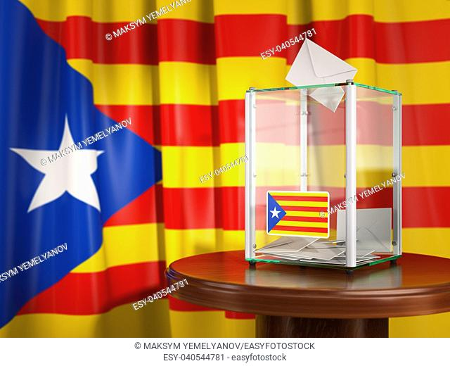 Referendum of independence of Catalonia concept. Ballot box with flag of Catalonia and voting papers. 3d illustration