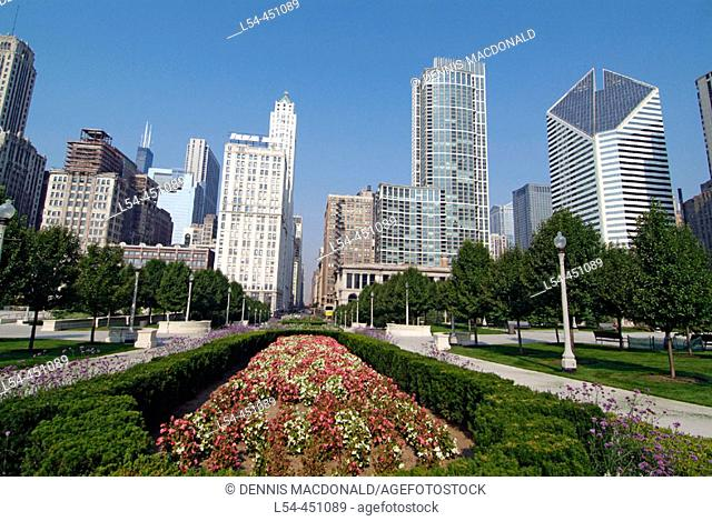 View of downtown Chicago from the heart of the city in Millennium Park. Illinois. USA