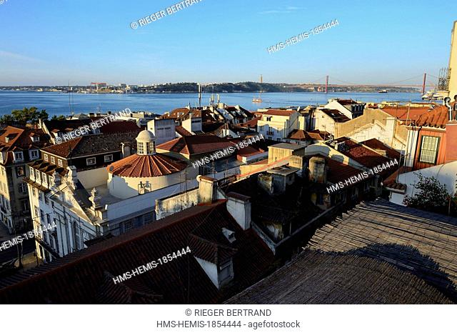 Portugal, Lisbon, Chiado district, view on the south bank of the Tagus river and the 25 de Abril bridge
