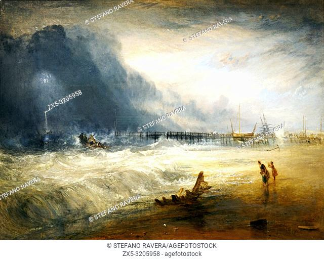 Life boat and manby apparatus going off to a stranded vessel making signal of distress by Joseph Mallord William Turner (1755-1851). Oil on canvas