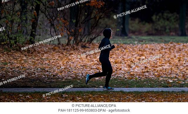 25 November 2018, Lower Saxony, Hannover: A jogger walks through a park in drizzle. Photo: Peter Steffen/dpa. - Hannover/Lower Saxony/Germany