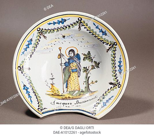 Ceramics - France - 19th century. Nevers faience. Barber's dish. Dated October 24, 1814, Jacques Bussonnet owner
