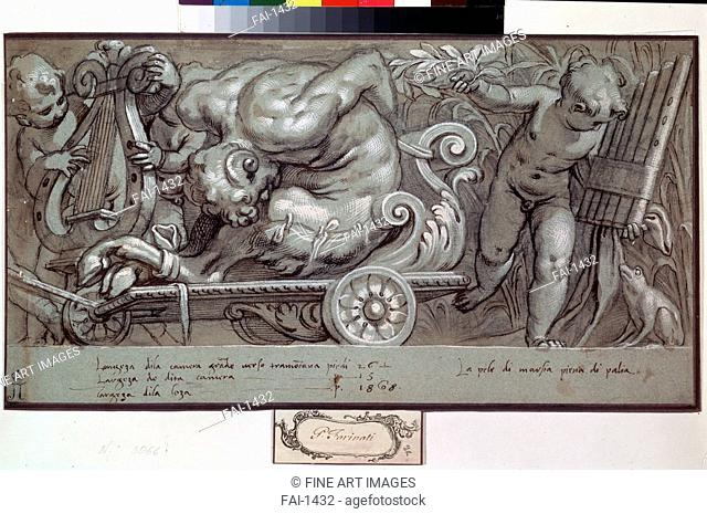 The Punishment of Marsyas. Farinati, Paolo (1524-1606). Pen, brush, brown Indian ink, white colour, black chalk on paper. Mannerism. c. 1573. State A