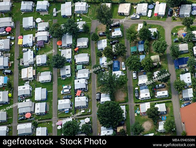 Aerial view of a campsite with caravans