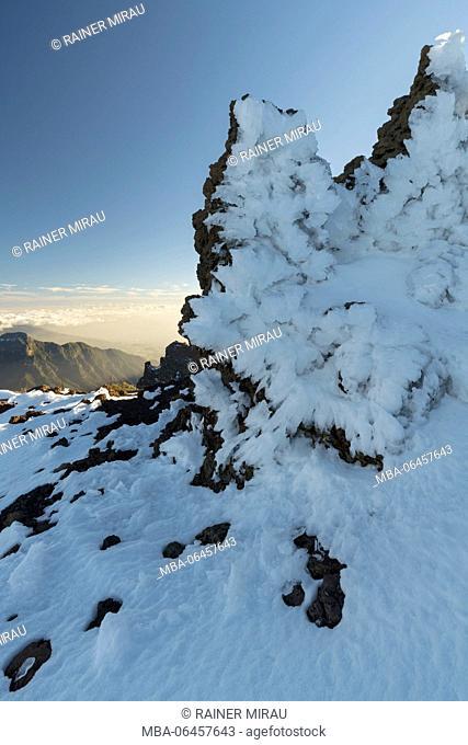 ice formations in Roque de los Muchachos, island La Palma, Canary islands, Spain