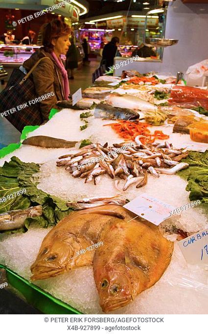 Fish stall at Mercat Santa Caterina in Barcelona Catalonia Spain EU
