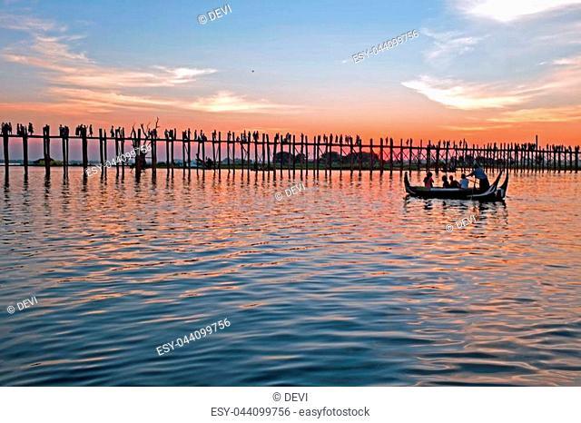 U-bein bridge in Mandalay Myanmar at sunset