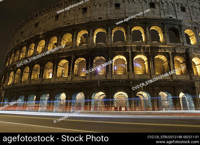 A time lapse exposure of the Colosseum at night in Rome, Italy