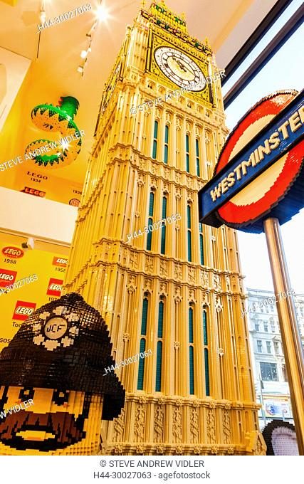 England, London, Leicester Square, Lego Store, Big Ben Statue made of Lego
