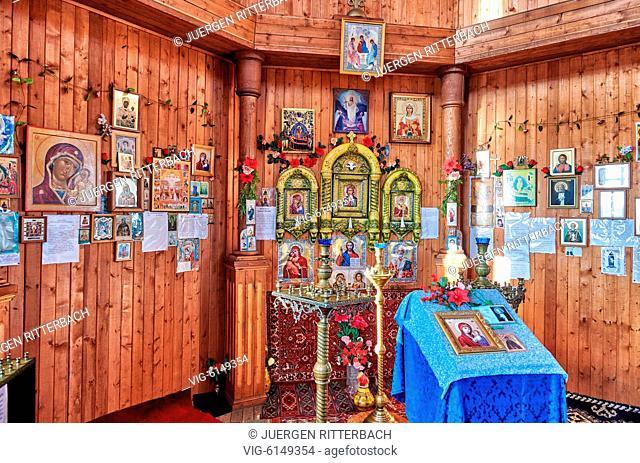 wooden Orthodox Church in russian mining town Barentsburg, Svalbard or Spitsbergen, Europe - Barentsburg, Svalbard, 26/06/2018
