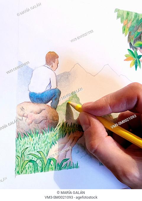 Man's hand painting a landscape with color pencils. Close view