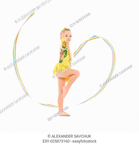 Little Gymnast Practicing with a Ribbon, on white background