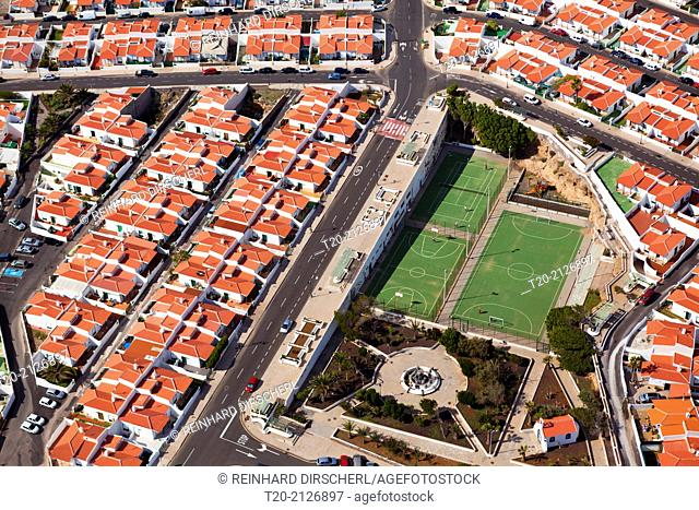 Aerial View Streets of Abades, Tenerife, Spain