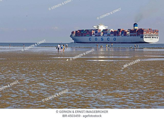 Container ship in the Wadden Sea, Cuxhaven, Lower Saxony, Germany