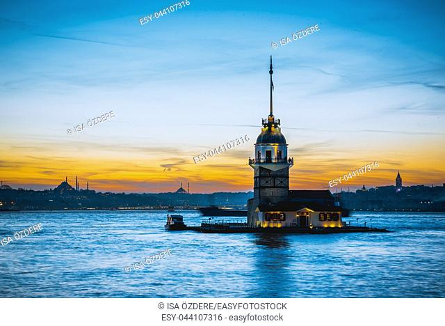 TURKEY -ISTANBUL:5 MARCH 2017 , Maiden Tower, medieval building/lighthouse, (Tower of Leandros, Turkish: Kiz Kulesi) at entrance to Bosporus Strait with Hagia...