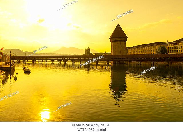 Chapel Bridge (Kapellbrucke) in Golden Hour in Lucerne, Switzerland