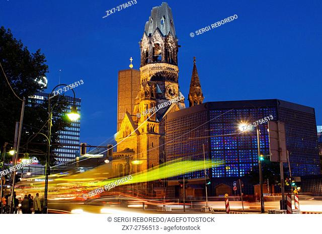 Germany, Berlin, Kaiser Wilhelm memorial Church at twilight. The Protestant Kaiser Wilhelm Memorial Church (in German: Kaiser-Wilhelm-Gedächtniskirche