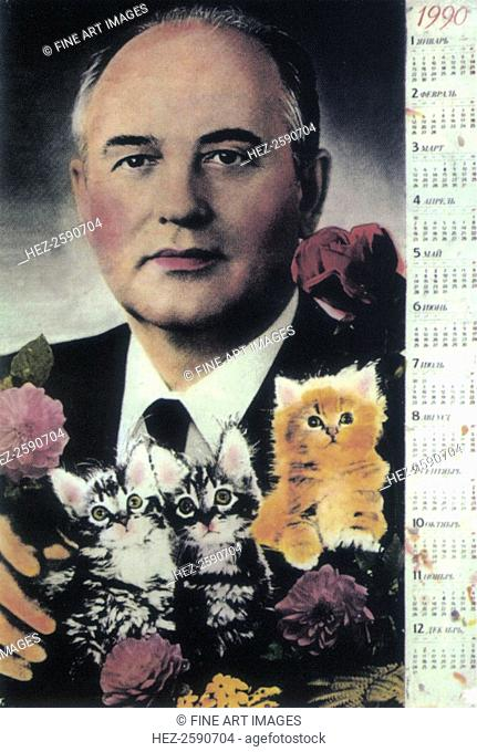 Gorbachev calendar, 1989. Found in the collection of the Russian State Library, Moscow