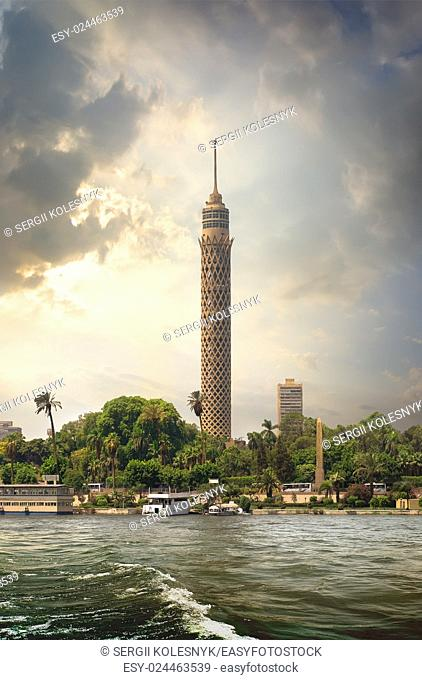 Tall TV tower in Cairo near Nile