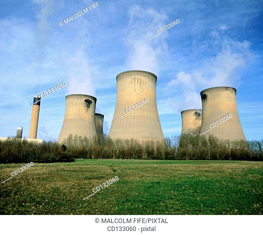 Cooling towers, coal-fired power station, near Selby. Yorkshire. England