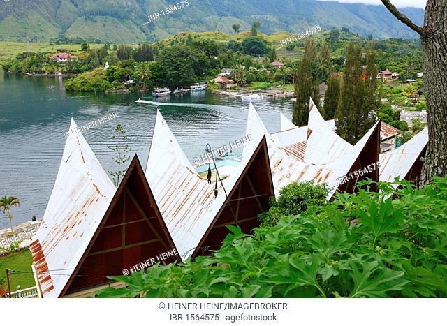 Roof structures of Batak houses, Samosir island, Lake Toba, Batak region, Sumatra, Indonesia, Asia