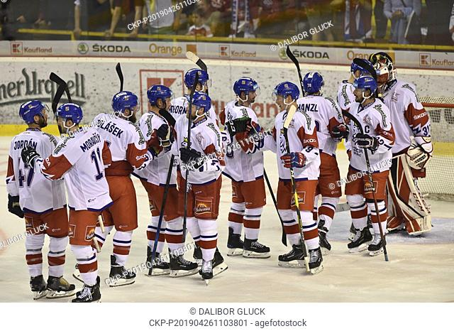 Czech ice hockey players celebrate win of the Euro Hockey Challenge match Slovakia vs Czech Republic in Trencin, Slovakia, April 26, 2019