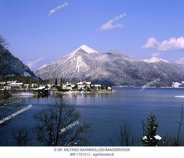 Lake Walchensee with Walchensee village below Mt. Jochberg, Upper Bavaria, Germany, Europe