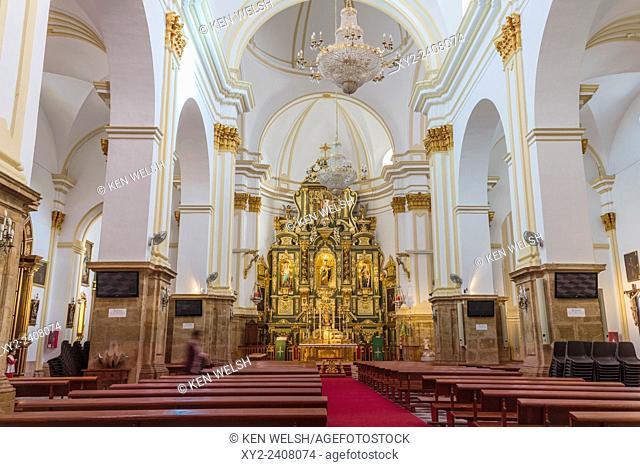 Marbella, Costa del Sol, Malaga Province, Andalusia, southern Spain. Interior of Nuestra Señora de la Encarnacion church in the old town
