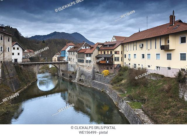 Europe, Slovenia. The old medieval town of Skofja Loka
