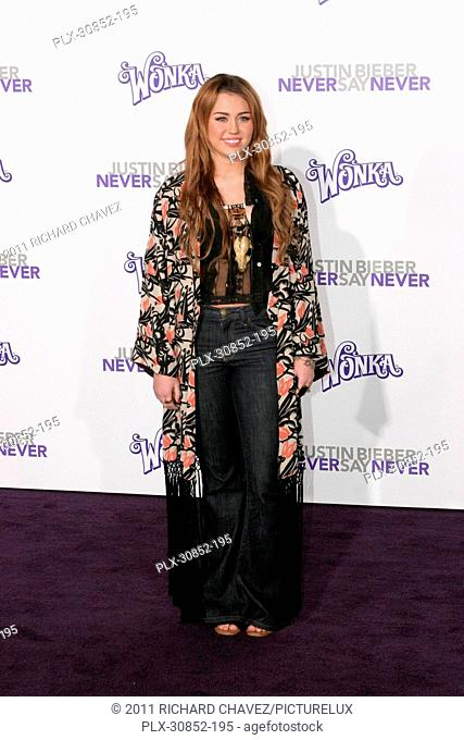 Miley Cyrus at the Los Angeles Premiere of Paramount Pictures' Justin Bieber: Never Say Never. Arrivals held at Nokia Theater L.A