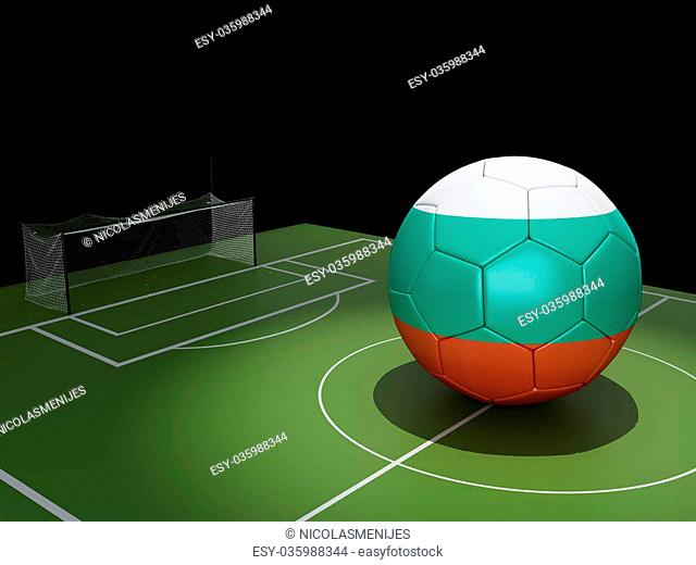3d illustration. Soccer field and Hungary ball. Sports concept