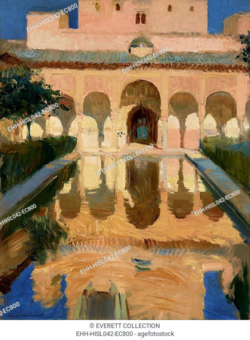 Hall of the Ambassadors, Alhambra, Granada, by Joaquin Sorolla y Bastida, 1910, Spanish painting, oil on canvas. Sorolla painted the patterns created by the...