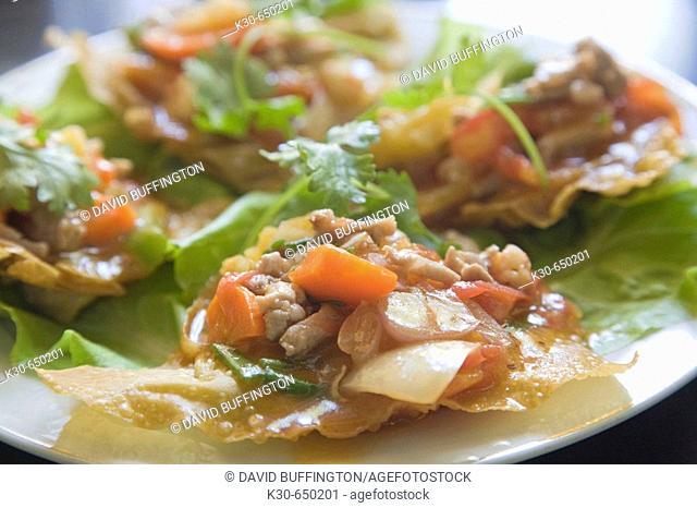 Vietnamese Won Ton with cilantro, Hoi An, Vietnam