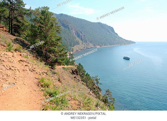 The path over the lake, Bolshiye Koty, Lake Baikal, Siberia, Russian Federation