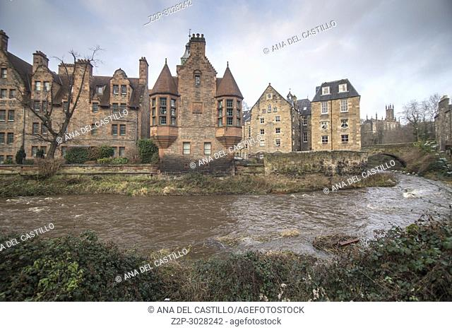 Dean Village along the river Leith in Edinburgh, Scotland, UK