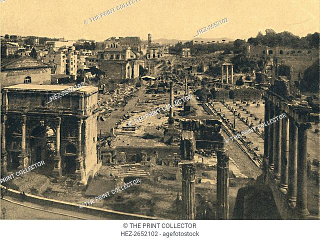 'Roma - General View of the Roman Forum', 1910. Valley that was the centre of the public life of the classical age. From Cento Vedute Classiche di Roma