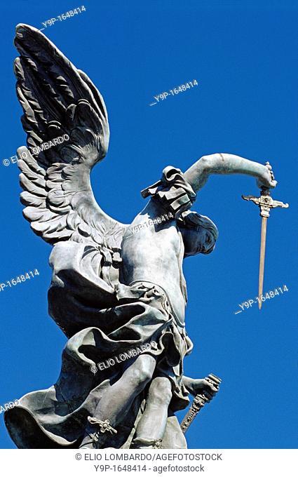 The Bronze Statue Of Archangel Michael, Castel Sant'Angelo, Rome, Latium, Italy
