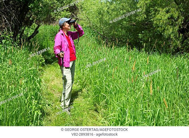 Birding along trail, Rose Creek Preserve, Whitman County, Washington
