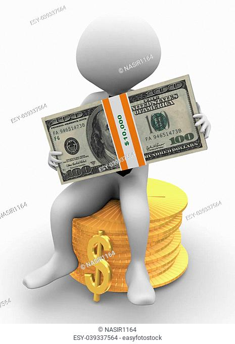 3d business man sitting on stack of coins holding dollar pack in his hand