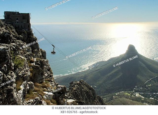 View from the Table Mountain onto the city of Cape Town, Westcape, South Africa, Africa