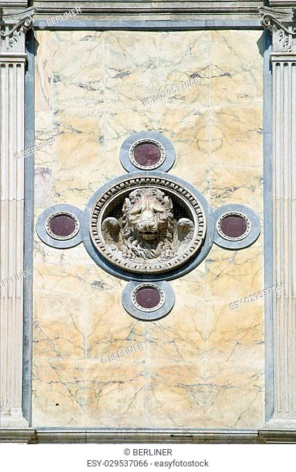 details of the marble facade of the Scuola Grande di San Marco in Venice, Italy
