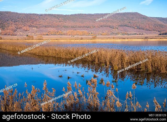 view of vico lake, province of viterbo, lazio, italy