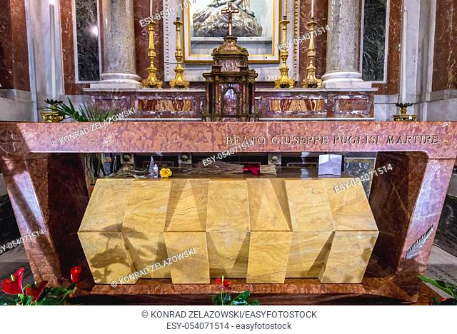 Tomb of blessed Giuseppe Pino Puglisi Metropolitan Cathedral of the Assumption of Virgin Mary in Palermo city of Southern Italy