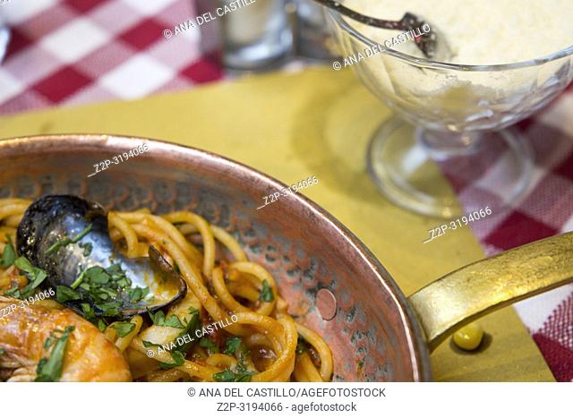 Spaghetti fruti di mare with shrimps and mussels Rome Italy