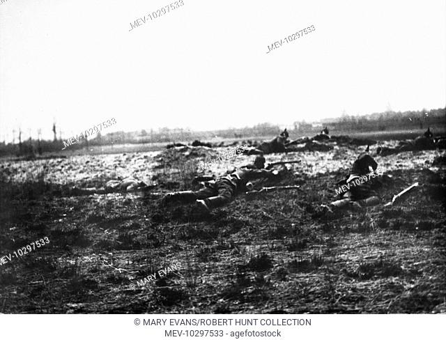German troops during the battle of Soissons on the Western Front during World War I