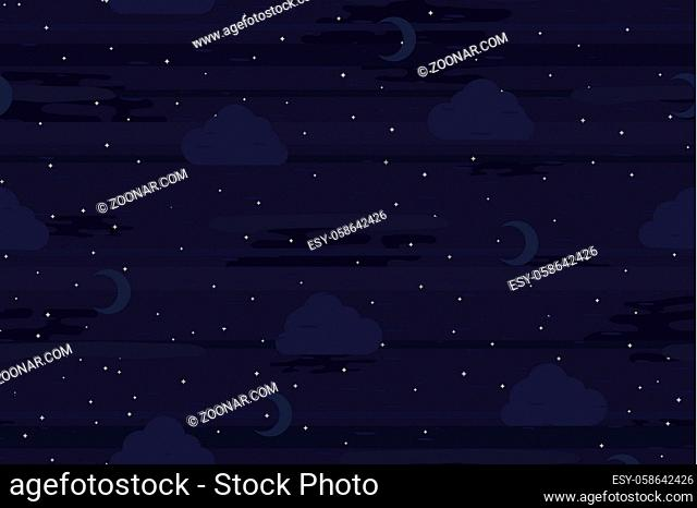 Night sky dark, seamless vector texture pattern, horizontal background