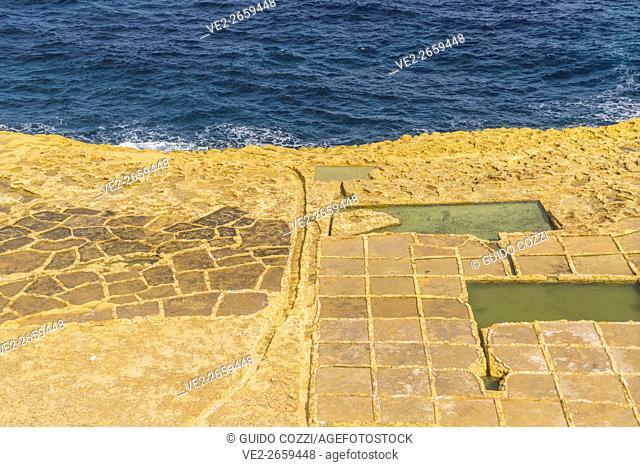 Malta, Gozo. Ancient salt ponds near Marslaforn