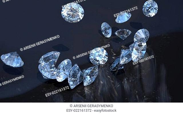 Jewels: large diamonds rolling over